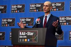 NBA commissioner Adam Silver speaks at a press conference at Barclays Center. Mandatory Credit: Brad Penner-USA TODAY Sports