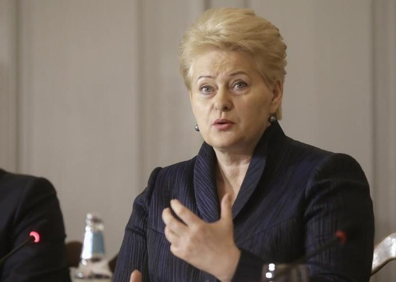 Lithuania's President Dalia Grybauskaite speaks during a news conference in the Koue manor December 2, 2014. REUTERS/Ints Kalnins