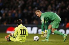 Barcelona's Lionel Messi after having his penalty saved by Manchester City's Joe Hart Reuters / Phil Noble Livepic