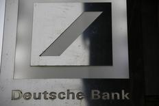 The logo of Deutsche Bank is pictured outside the bank's branch in Wiesbaden, January 28, 2015.     REUTERS/Kai Pfaffenbach