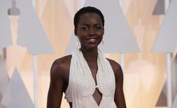 Actress Lupita Nyong'o wears a Calvin Klein gown and Chopard diamonds as she arrives at the 87th Academy Awards in Hollywood, California in this February 22, 2015 file photo. REUTERS/Mario Anzuoni/Files