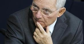 German Finance Minister Wolfgang Schaeuble attends a session of the Bundestag, the lower house of parliament, in Berlin February 27, 2015.   REUTERS/Hannibal Hanschke