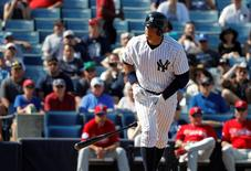 Mar 4, 2015; Tampa, FL, USA; New York Yankees designated hitter Alex Rodriguez (13) walked during the sixth inning against the Philadelphia Phillies at a spring training game at George M. Steinbrenner Field. Mandatory Credit: Kim Klement-USA TODAY Sports