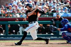 Mar 5, 2015; Scottsdale, AZ, USA; San Francisco Giants right fielder Hunter Pence (8) at bat during the first inning against the Chicago Cubs during a spring training baseball game at Scottsdale Stadium. Mandatory Credit: Matt Kartozian-USA TODAY Sports