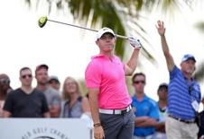 Rory McIlroy reacts to his tee shot on the second hole hole during the third round of the WGC - Cadillac Championship golf tournament at TPC Blue Monster at Trump National Doral. Mar 7, 2015; Miami, FL, USA; Jason Getz-USA TODAY Sports