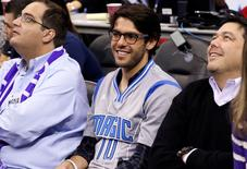 MLS Orlando City star KaKa sits court side during the fourth quarter of an NBA basketball game at Amway Center between the New York Knicks and Orlando Magic. The Magic won 89-83. Mandatory Credit: Reinhold Matay-USA TODAY Sports