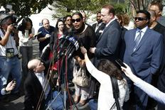 Marvin Gaye's daughter, Nona Gaye, speaks to media outside the federal court in Los Angeles, March 10, 2015.  REUTERS/Lucy Nicholson