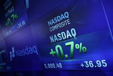 The Nasdaq Marketsite digital monitor wall is seen in New York March 2, 2015. REUTERS/Shannon Stapleton