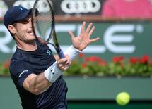 Andy Murray (GBR) during his 2nd round match against Vasek Pospisil (CAN) in the BNP Paribas Open at the Indian Wells Tennis Garden. Murray won 6-1, 6-3.  Mandatory Credit: Jayne Kamin-Oncea-USA TODAY Sports