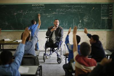 Wheelchair-bound teacher in Gaza