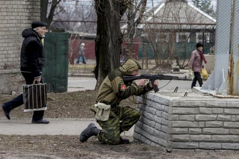 Pro-Russian troops drill in Donetsk