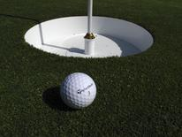 A golf ball is shown next to a 15-inch cup on a putting green at the TaylorMade golf facility in Carlsbad, California May 9, 2014.   REUTERS/Mike Blake