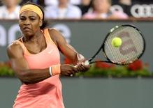 Mar 18, 2015; Indian Wells, CA, USA;   Serena Williams (USA) during her match against Timea Bacsinszky (SUI) in the BNP Paribas open at the Indian Wells Tennis Garden. Jayne Kamin-Oncea-USA TODAY Sports