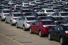 New cars are seen at the Toyota plant in Cambridge, March 31, 2014. REUTERS/Mark Blinch