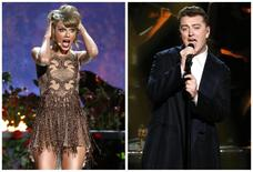 Pop star Taylor Swift (L) and British soul-pop artist Sam Smith performs during the 42nd American Music Awards in Los Angeles, California in this combination photo from November 23, 2014 file photos. REUTERS/Mario Anzuoni/Files