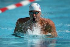 Aug 10, 2014; Irvine, CA, USA; Michael Phelps swims 1:58.74 in a 200m individual medley heat to advance to the final in the 2014 USA National Championships at William Woollett Jr. Aquatics Complex. Kirby Lee-USA TODAY Sports - RTR41WAS