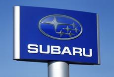 A Subaru sign is pictured at a car lot in Carlsbad, California November 5, 2014.    REUTERS/Mike Blake