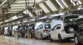 Volkswagen Golf VII cars are pictured in a production line at the plant of German carmaker Volkswagen in Wolfsburg, March 3, 2015.  REUTERS/Fabian Bimmer