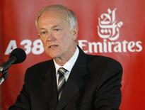 President of Emirates Airlines Tim Clark speaks after the Emirates' Airbus A380 jet arrives at John F. Kennedy International Airport after its maiden flight in New York, August 1, 2008. REUTERS/Chip East