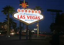A view of the 'Welcome To Fabulous Las Vegas' neon sign is seen before Earth Hour in Las Vegas, Nevada, in this March 27, 2010, file photo. Betty Willis, an artist who designed the iconic welcome sign, has died at age 91, a mortuary said on its website, April 21, 2015. REUTERS/Richard Brian/Files