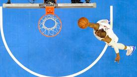 Apr 19, 2015; Los Angeles, CA, USA; Los Angeles Clippers guard Chris Paul (3) shoots the ball against the San Antonio Spurs in game one of the first round of the NBA Playoffs at Staples Center. Mandatory Credit: Richard Mackson-USA TODAY Sports