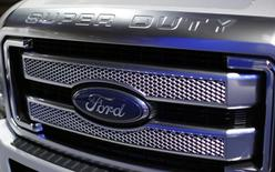 Front grille of a 2015 Ford Super Duty pickup truck is shown at the press day for the Washington Auto Show in Washington January 22, 2015.     REUTERS/Gary Cameron