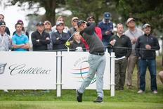 May 1, 2015; San Francisco, CA, USA; Rory McIlroy tees off at the seventh hole during day three of the World Golf Championships-Cadillac Match Play at TPC Harding Park. Mandatory Credit: Ed Szczepanski-USA TODAY Sports
