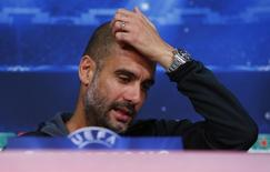Técnico do Barcelona, Pep Guardiola, em entrevista coletiva. 11/05/2015 REUTERS/Michaela Rehle