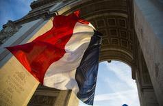 Bandeira da França embaixo do Arco do Triunfo, em Paris.   11/11/2013   REUTERS/Ian Langsdon/Pool