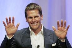 New England Patriots quarterback Tom Brady speaks at Salem State University in Salem, Massachusetts in this file photo from May 7, 2015. REUTERS/Charles Krupa/Pool/Files