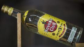 A Havana Club rum bottle is displayed at a cellar of the Havana Club Distillery in San Jose de las Lajas, Cuba, May 12, 2015. Picture taken May 12, 2015. REUTERS/Alexandre Meneghini