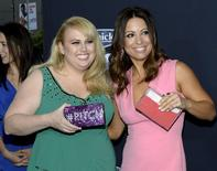 """Cast member Rebel Wilson (L) and writer/co-producer Kay Cannon pose at the premiere of """"Pitch Perfect 2"""" in Los Angeles, California, United States May 8, 2015.  REUTERS/Kevork Djansezian"""