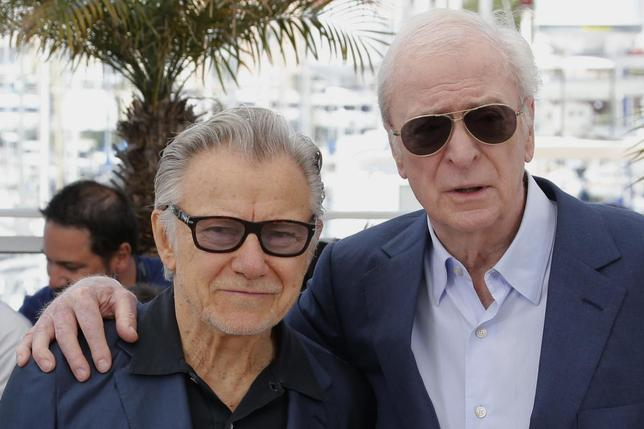 Cast members Harvey Keitel (L) and Michael Caine pose during a photocall for the film ''Youth'' in competition at the 68th Cannes Film Festival in Cannes, southern France, May 20, 2015. REUTERS/Regis Duvignau