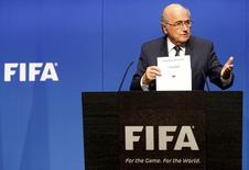 Presidente da Fifa, Joseph Blatter, durante evento em Zurique.  19/03/2015   REUTERS/Ruben Sprich