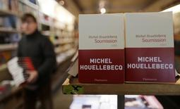 """The book """"Soumission"""" (Submission) by French author Michel Houellebecq is displayed in a bookstore in Paris January 7, 2015. REUTERS/Jacky Naegelen"""