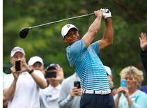 Tiger Woods on the 11th tee during practice round action for the Memorial Tournament at Muirfield Village Golf Club on Jun 3, 2015; Dublin, OH, USA;  Joe Maiorana-USA TODAY Sports