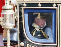 Britain's Prince Charles is driven by carriage from Buckingham Palace to the Houses of Parliament during the State Opening of Parliament in central London, Britain, May 27, 2015.   REUTERS/Peter Nicholls