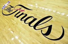 A view of the NBA Finals logo before game five of the 2014 NBA Finals between the San Antonio Spurs and the Miami Heat at AT&T Center. Mandatory Credit: Bob Donnan-USA TODAY Sports