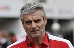 Ferrari Formula One team principal Maurizio Arrivabene walks in the pit at the end of the first free practice session at the Monaco F1 Grand Prix May 21, 2015. REUTERS/Max Rossi