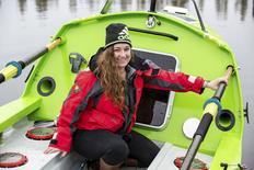 Sonya Baumstein sits in her 23-foot (7.01 meter) carbon and kevlar solo rowboat in this handout picture courtesy of Andrew Cull in Port Townsend, Washington April 12, 2015.  REUTERS/Andrew Cull/Handout via Reuters