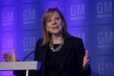 General Motors Co., CEO Mary Barra  addresses the media before the start of the annual GM Shareholders meeting at  GM world headquarters in Detroit, Michigan June 9, 2015.   REUTERS/Rebecca Cook