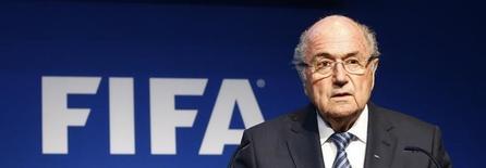 Presidente da Fifa, Joseph Blatter, durante coletiva de imprensa na sede da entidade. 02/06/2015 REUTERS/Ruben Sprich