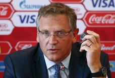 FIFA Secretary General Jerome Valcke speaks as he attends a news conference during his visit to Samara, one of the 2018 World Cup host cities, Russia, June 10, 2015. REUTERS/Maxim Zmeyev