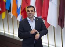 Le Premier ministre grec, Alexis Tsipras, à Bruxelles. iSelon le ministre d'Etat Alekos Flabouraris, la Grèce espère conclure un accord avec ses créanciers internationaux lors de la réunion des ministres des Finances de la zone euro prévue le 18 juin. /Photo prise le 11 juin 2015/REUTERS/Yves Herman