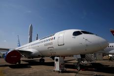 A Bombardier CS300 airplane is seen on a static display two days before the opening of the 51st Paris Air Show at Le Bourget airport near Paris June 13, 2015. REUTERS/Pascal Rossignol