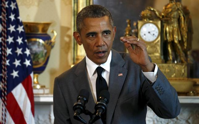 6月16日、米政権の「アジア重視」に暗雲、TAA法案否決で中国の影響拡大も。写真はオバマ大統領、15日にホワイトハウスで撮影(2015年 ロイター/Kevin Lamarque)