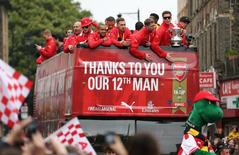 Arsenal - FA Cup Winners Parade - Emirates Stadium - 31/5/15. Arsenal celebrate winning the FA Cup during the parade. Action Images via Reuters / Alex Morton Livepic