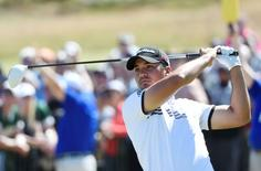 Jun 19, 2015; University Place, WA, USA; Jason Day hits his tee shot on the 1st hole in the second round of the 2015 U.S. Open golf tournament at Chambers Bay. Michael Madrid-USA TODAY Sports