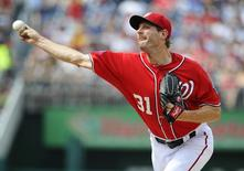 Jun 20, 2015; Washington, DC, USA; Washington Nationals starting pitcher Max Scherzer (31) throws to the Pittsburgh Pirates during the second inning at Nationals Park.  Brad Mills-USA TODAY Sports