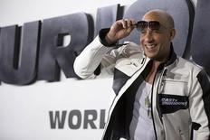 """Astro da franquia """"Velozes e Furiosos"""" Vin Diesel durante evento em Hollywood.   02/03/2015   REUTERS/Mario Anzuoni"""
